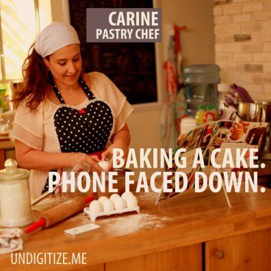 Baking A Cake. Phone Faced Down.