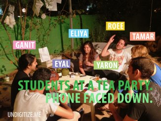 Students At A Tea Party. Phones Faced Down.