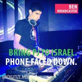 Bring PJ To Israel. Phone Faced Down.