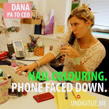 Nail Colouring. Phone Faced Down.
