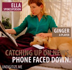 Catching Up On News. Phone Faced Down.