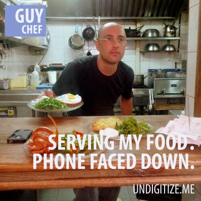 Serving My Food. Phone Faced Down.