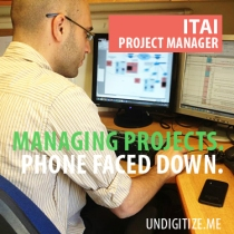 Managing Projects. Phone Faced Down.