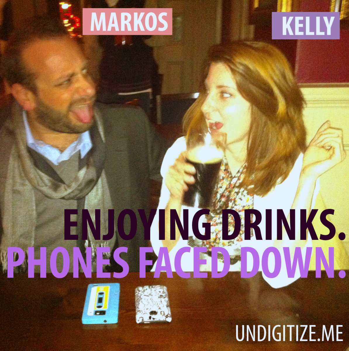 Enjoying Drinks, Phones Faced Down.