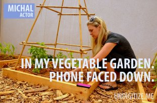 In My Vegetable Garden. Phone Faced Down.