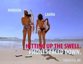 Hitting Up The Swell. Phone Faced Down.