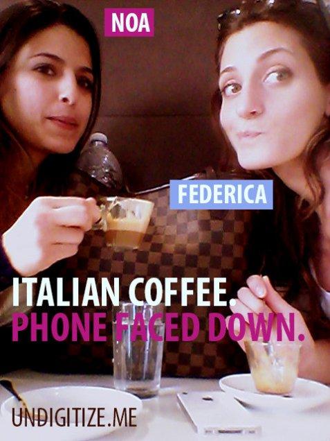 Italian Coffee. Phone Faced Down.