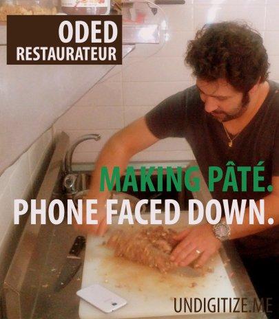 Making Pâté. Phone Faced Down.
