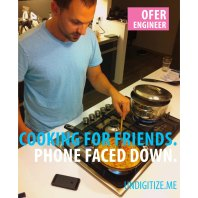Cooking For Friends. Phone Faced Down.