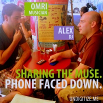 Sharing The Muse. Phone Faced Down.