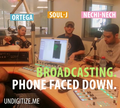 Broadcasting. Phone Faced Down.