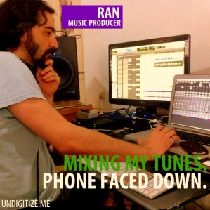 Mixing My Tunes. Phone Faced Down.