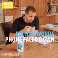 Editing Words. Phone Faced Down.