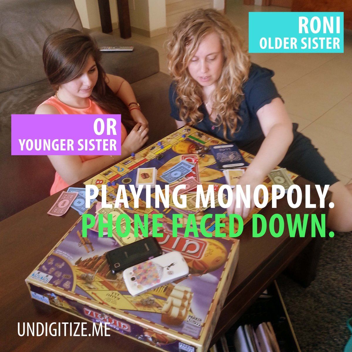 Playing Monopoly. Phone Faced Down.