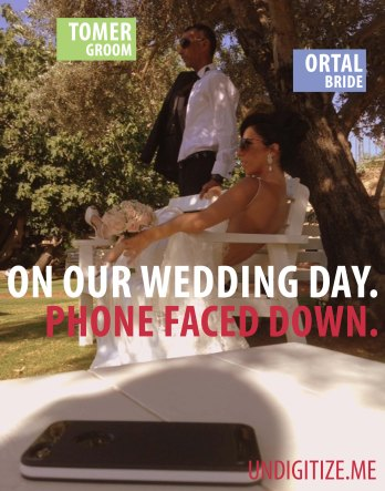 On Our Wedding Day. Phone Faced Down.