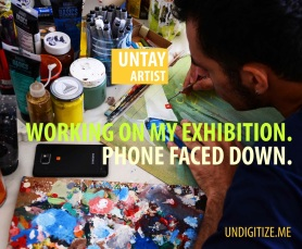 Working On My Exhibition. Phone Faced Down.