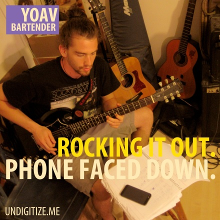 Rocking It Out. Phone Faced Down.